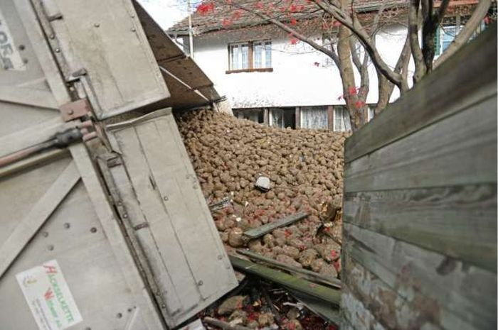 Truck Crashes Into The Side Of A House