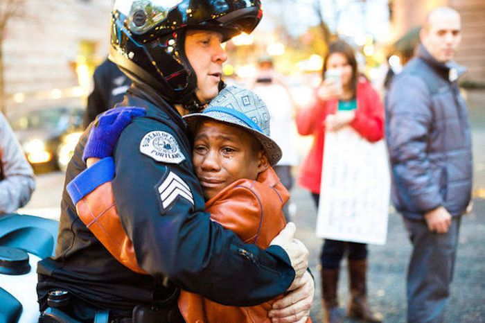 Black Boy Gives Away A Free Hug To A White Cop