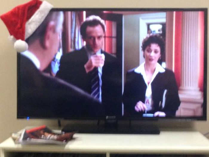 Put A Santa Hat On The Corner Of A TV And You Have A Drinking Game