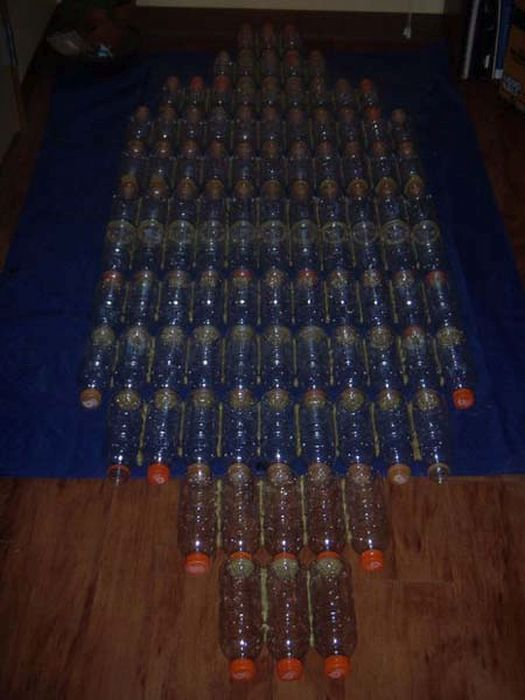 Homemade Boat Made Out Of Bottles