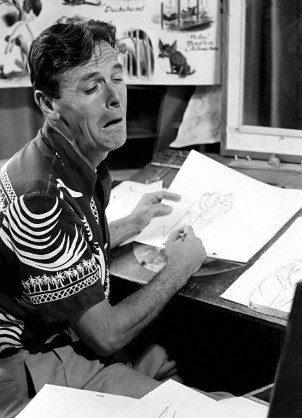 Disney Animators Using Their Reflections To Draw Their Characters