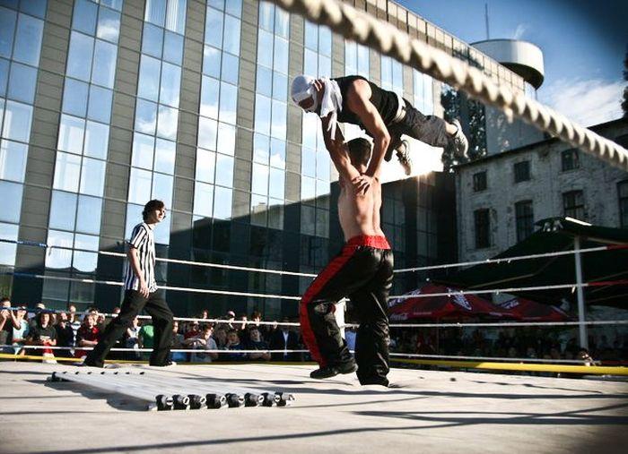 Hungarian Wrestlers Go Hardcore