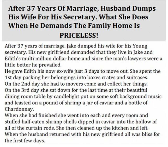 Husband Dumps Wife Of 37 Years, Her Reaction Is Priceless