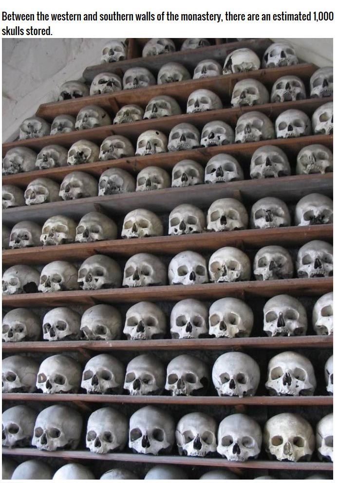 These Monks Have Built A Wall Out Of Human Skulls