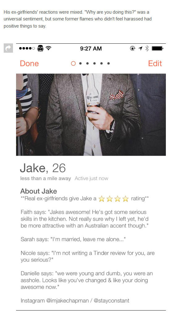 Guy Gets Ex-Girlfriends To Write Tinder Reviews For Him