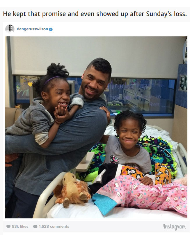 After Losing The Super Bowl Russell Wilson Visited The Children's Hospital