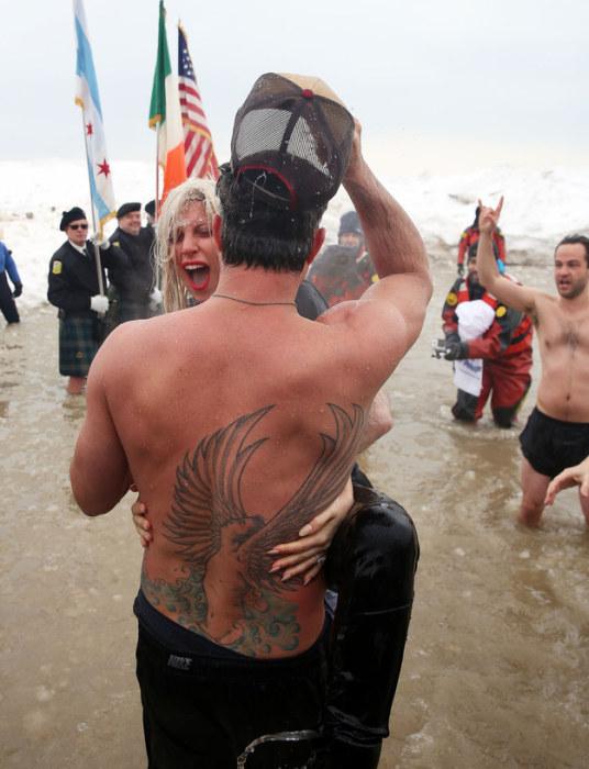 Lady Gaga Takes The Polar Plunge At Lake Michigan