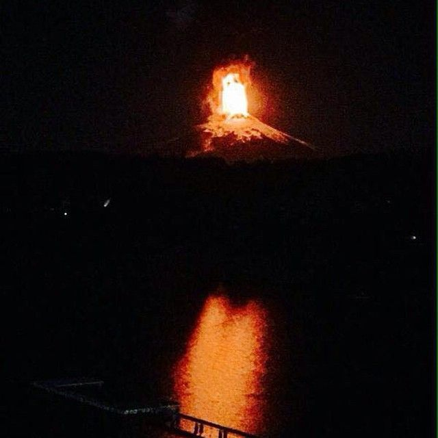 Villarrica Volcano Lights Up The Sky In Chile