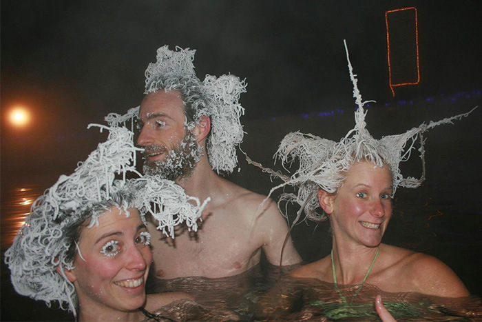 Canadians Freeze Their Hair At The Takhini Hot Springs