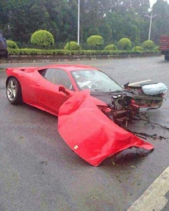 This Beautiful Ferrari Got Shredded In A Collision With A Tree
