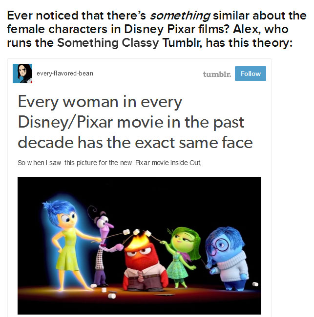 Every Female Character In Disney Pixar Films Shares The Same Face