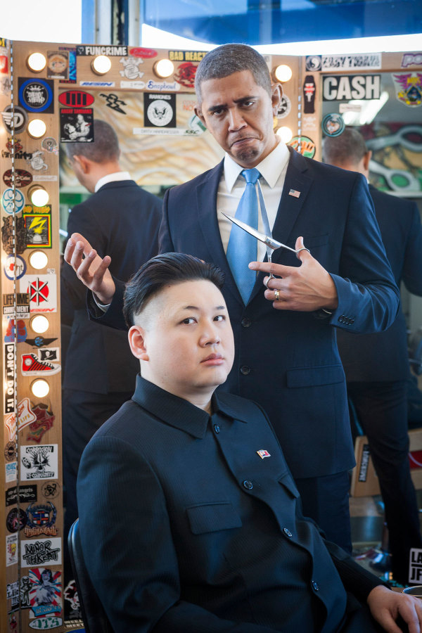 Barack Obama and Kim Jong Un Impersonators Stroll Through L.A. Together