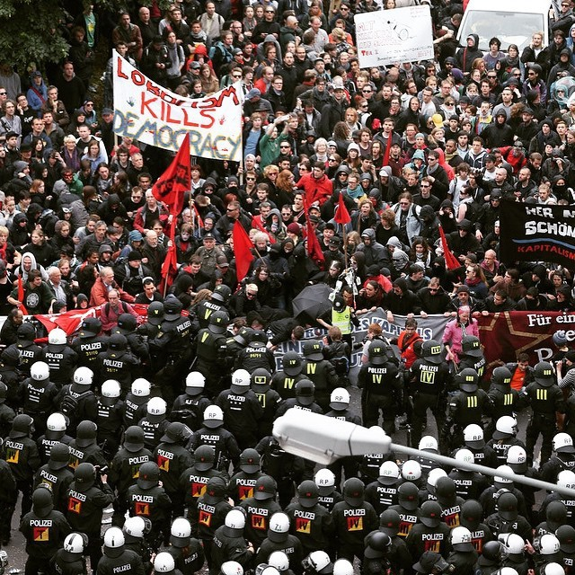 Protests Rage On In Frankfurt Germany