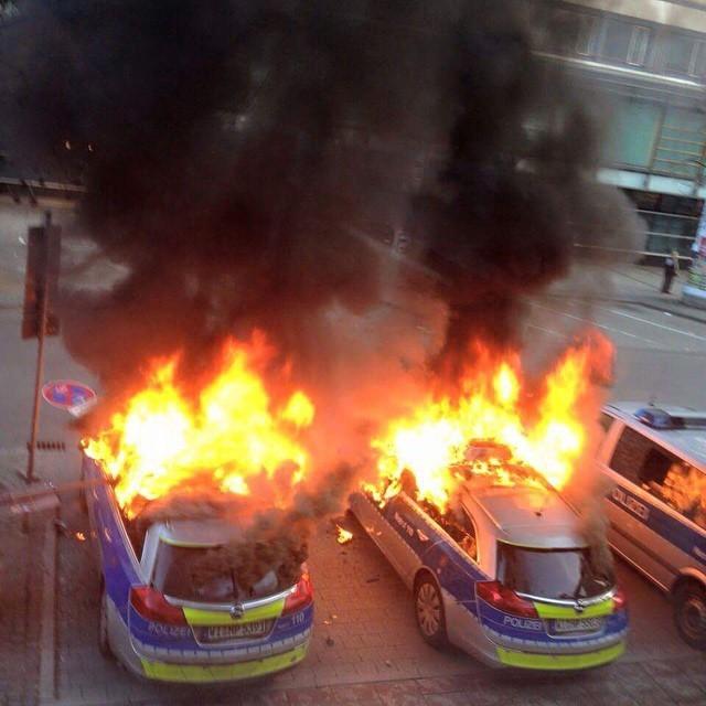 Protests Rage On In Frankfurt Germany