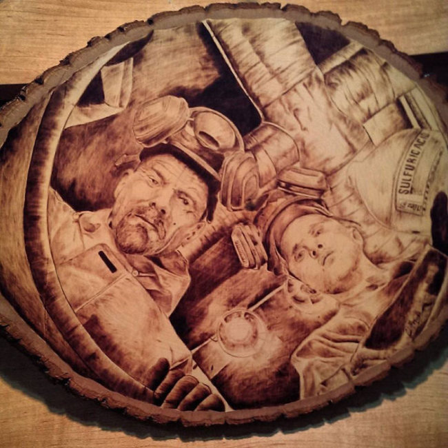 Artist Burns Famous Movie Characters Onto Wood