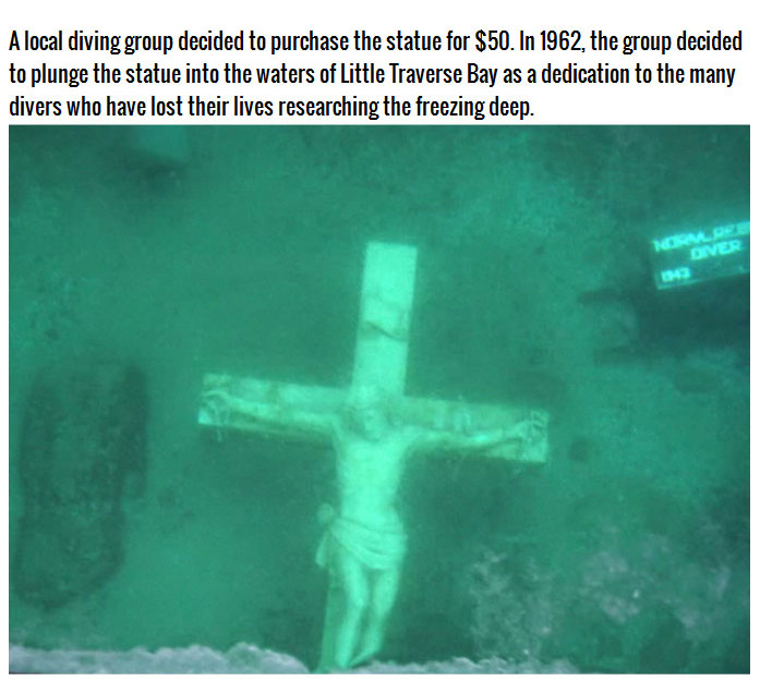Giant Crucifix Under The Waters Of Lake Michigan