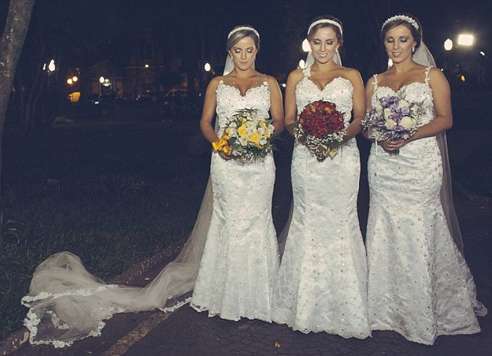 Identical Triplets Get Married On The Same Day At The Same Time