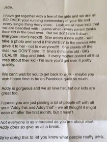 Mother Gets Angry Letter From Friends That Don't Like Her Baby Posts