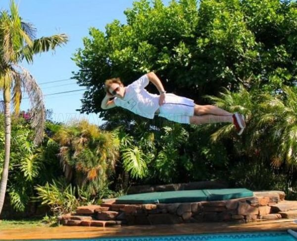 Funny Photos of Mid-Air Poses Above the Pool