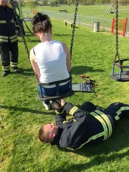 Firefighters Had To Rescue This Teenager Stuck In A Child's Swing