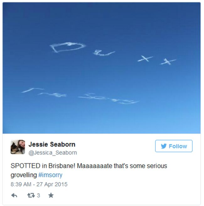 Sometimes You Just Have To Apologize Using Skywriting