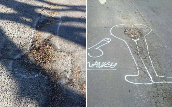 Artist Uses Penises To Draw Attention To Potholes In England