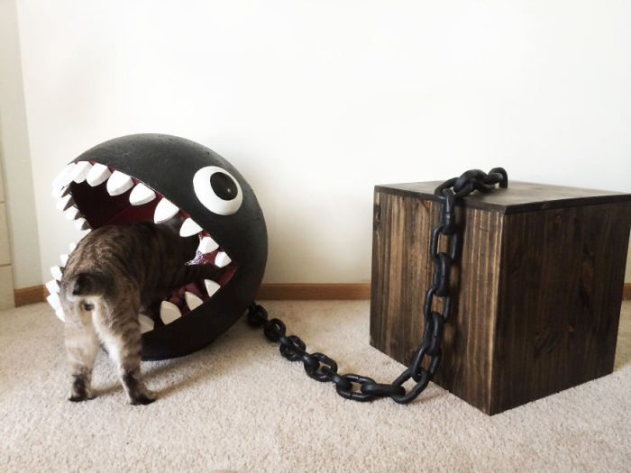Meet The Cats That Sleep Inside A Chain Chomp From Super Mario Bros.