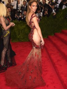 Jennifer Lopez Shows Off Her Beautiful Backside In A See Through Dress