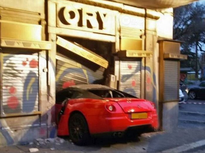 Valet Crashes A Ferrari Right Into A Storefront