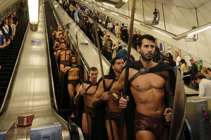 What It Looks Like When Spartan Warriors Ride The Subway