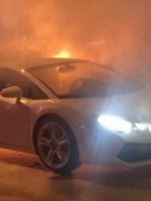 Lamborghini Catches Fire And Burns To The Ground