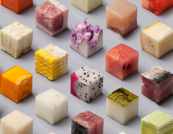 Artists Cut Raw Food Into 98 Perfectly Sized Cubes