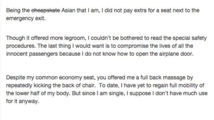 This Asian Woman's Letter To The Passenger From Hell Is Hilarious