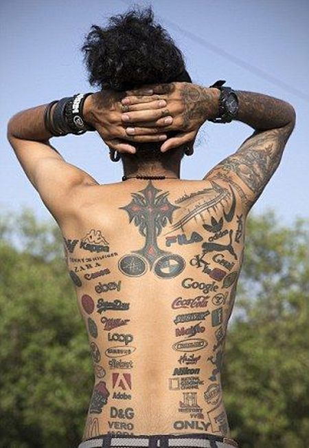 Meet The Man Who Covered His Body With Brand Logo Tattoos