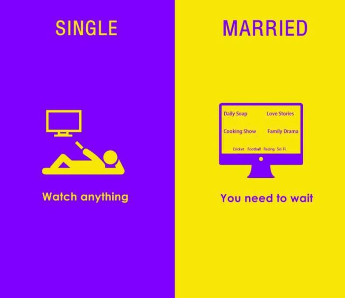 These Diagrams Sum Up The Differences Between Married Life And Single Life
