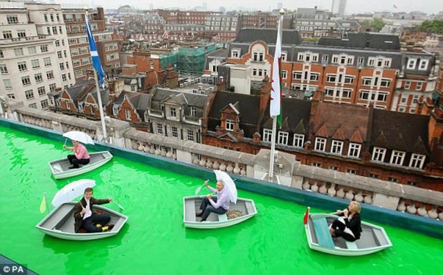 Boating on a Rooftop Lake