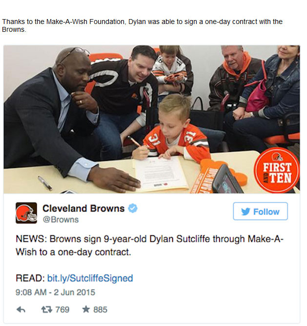 The Cleveland Browns Signed A 9 Year Old To A Contract To Grant His Wish