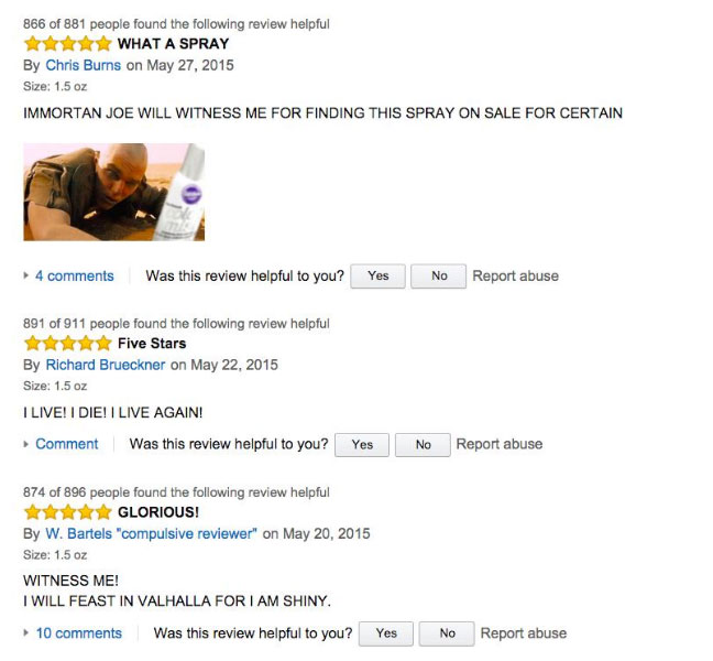 Mad Max Fans Have Hijacked The Silver Cake Spray Reviews On Amazon