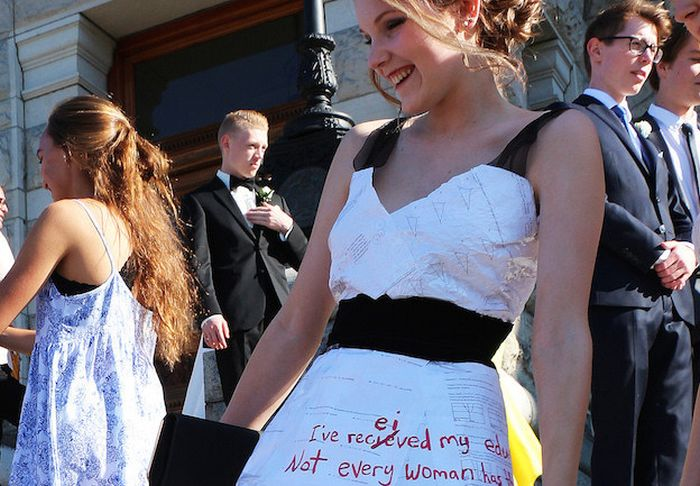 This High School Student Made A Graduation Dress Out Of Her Homework