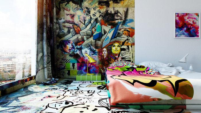 Designer Creates Half White, Half Griffiti Filled Hotel Room