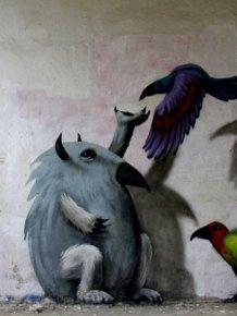 An Artist In Berlin Is Painting Monster Murals Inside Abandoned Buildings