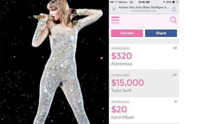 Taylor Swift Donates $15,000 To A Firefighter And His Family