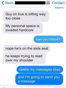 Creepy Guy On The Bus Reading Someone Else's Texts Gets Trolled Big Time