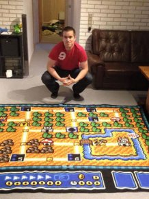 Norwegian Man Spends 6 Years Crocheting A Map From Super Mario Bros. 3