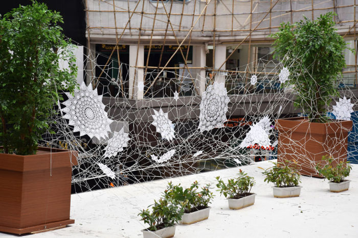 Artist Uses Lace To Create Street Art Masterpieces