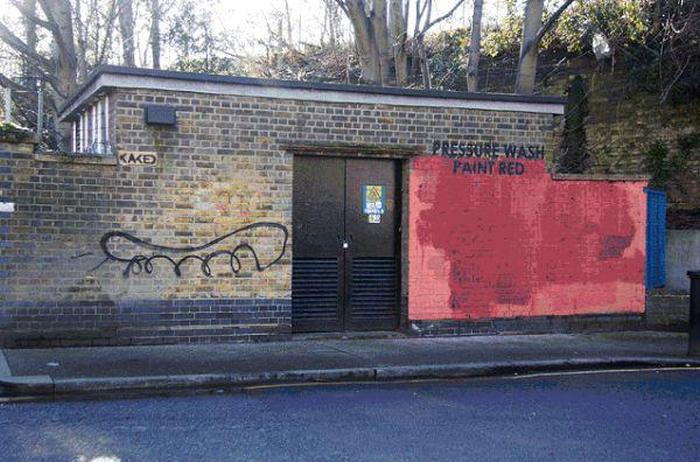 Graffiti Artist And City Worker Have A War On A Wall