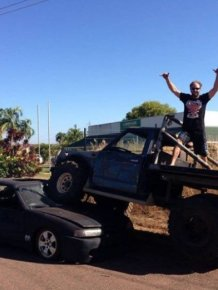 Man Uses Truck To Crush The Car Of His Ex-Girlfriend's New Lover