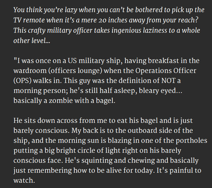 Lazy Military Officer Is Obviously Not A Morning Person