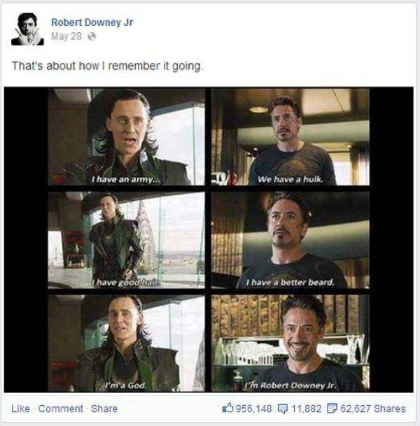 This Is Why You Need To Like Robert Downey Jr. On Facebook