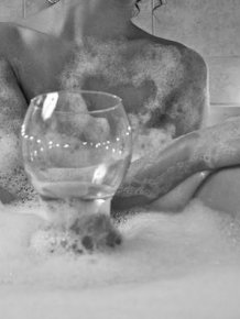 Wet girls in bath